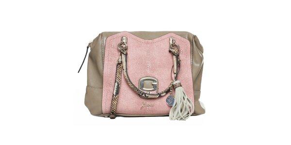 Dámska béžovo-ružová kabelka so strapcom Guess