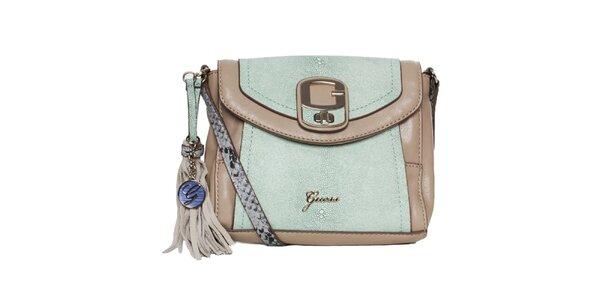 Dámska zeleno-béžová kabelka so strapcom Guess