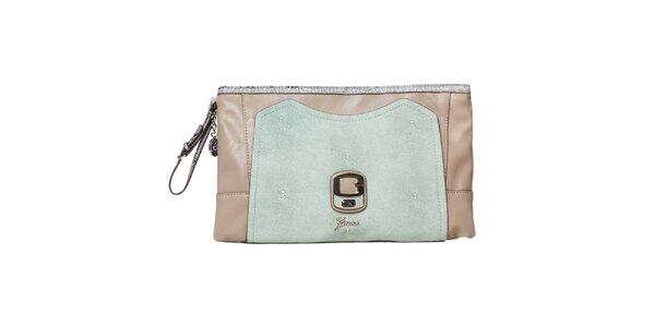 Dámska béžová listová kabelka so šedým pútkom Guess