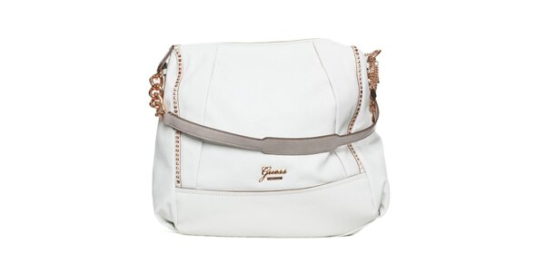 Dámska biela kabelka s retiazkou a ramenným popruhom Guess