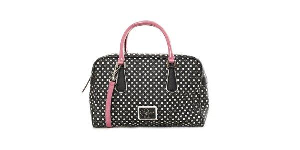Dámska čierna kabelka s bodkami Guess