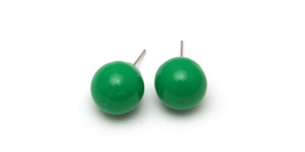 Dámske zelené guľaté náušnice Bubbles