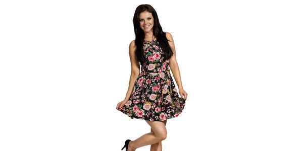 Dámske čierne kvetované šaty Madam Rage