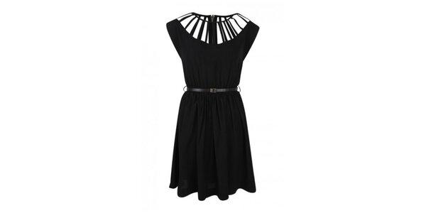 Dámske čierne šaty s ozdobným dekoltom Madam rage
