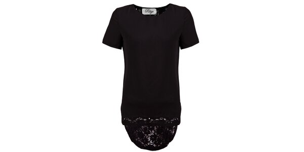 Dámske čierne tričko s čipkovým ukončením Madam Rage