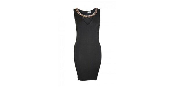Dámske čierne šaty s ozdobným výstrihom Madam rage
