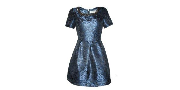 Dámske modré šaty s elegantným vzorom Madam rage