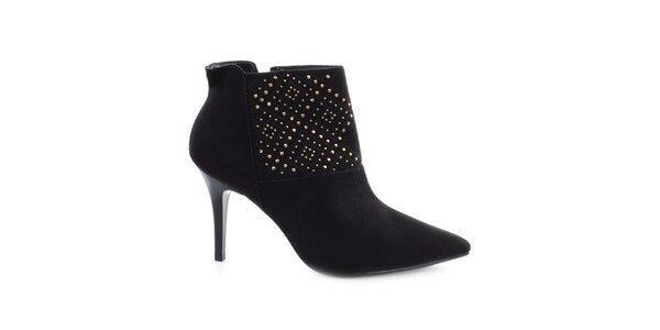 Dámske čierne topánky na ihlovom opätku s cvočkami Vizzano