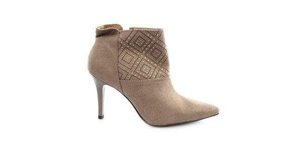 Dámske šedé topánky na ihlovom opätku s cvočkami Vizzano