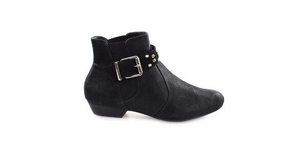 Dámske čierne členkové topánky s prackou cez priehlavok Vizzano