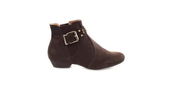 Dámske hnedé členkové topánky s prackou cez priehlavok Vizzano