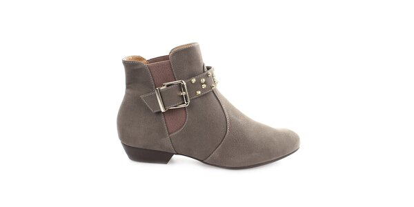 Dámske šedé členkové topánky s prackou cez priehlavok Vizzano