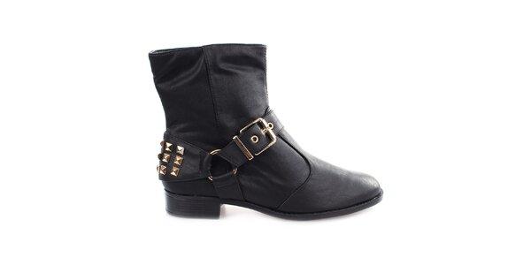 Dámske čierne členkové topánky s cvočkami za pätou Vizzano