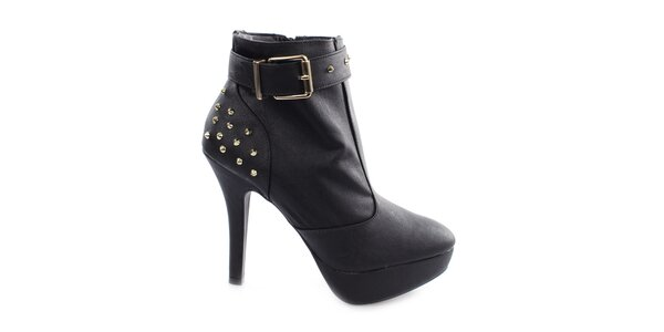 Dámske čierne topánky na vysokom opätku Vizzano