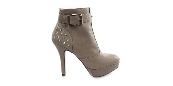 Dámske šedé topánky na vysokom opätku Vizzano