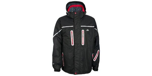 Pánska čierna bunda s červenými zipsami Trespass