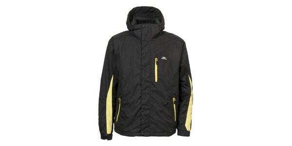 Pánska čierna bunda so žltými zipsami Trespass