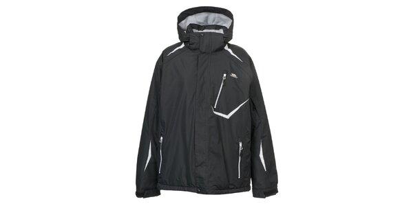 Pánska čierna bunda s bielymi prvkami Trespass