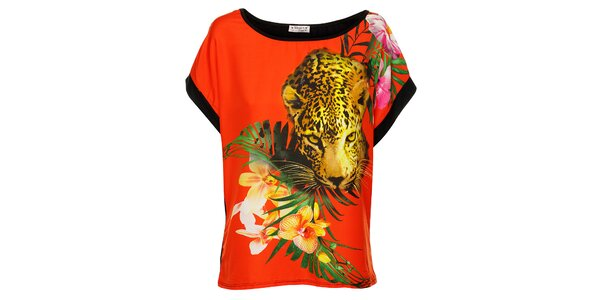 Dámsky oranžovo-čierny leopardí top Victoria Look
