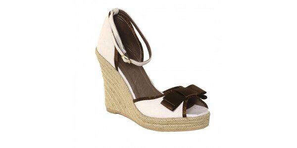 Dámske sandálky Vkingas na jutovom kline s mašľou hnedej farby