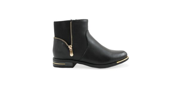 Dámske hnedé členkové topánky s ozdobným zipsom Ctogo GOGO