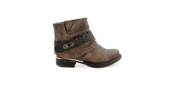 Dámske hnedé členkové topánky s výraznou prackou Ctogo GOGO