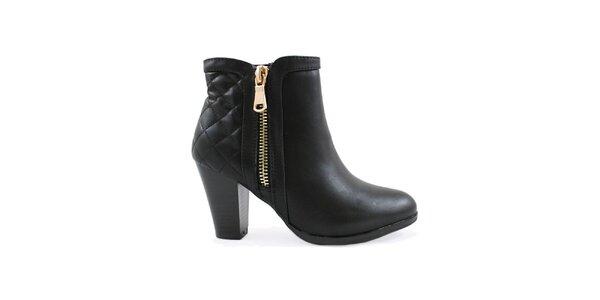 Dámske čierne členkové topánky na opätku Colorful