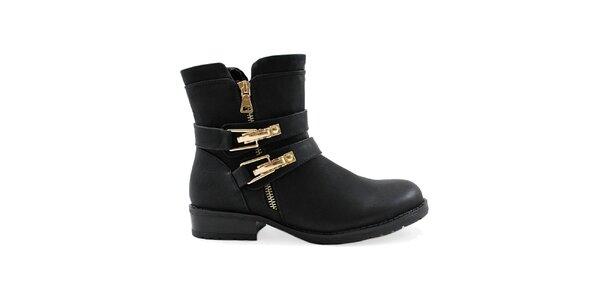 Dámske čierne členkové topánky so zlatými prackami Colorful