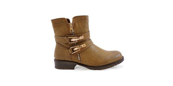 Dámske svetlo hnedé členkové topánky so zlatými prackami Colorful