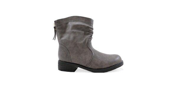Dámske šedé topánky so zipsom Colorful