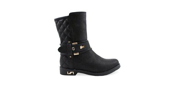 Dámske čierne topánky so zlatými prvkami Colorful
