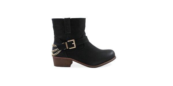 Dámske čierne členkové topánky s prackou Colorful
