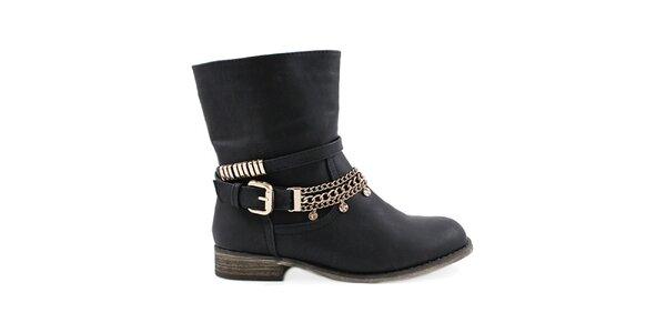 Dámske čierne členkové topánky Colorful