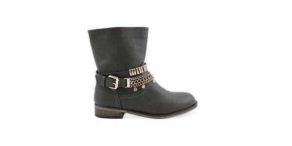 Dámske šedé členkové topánky Colorful