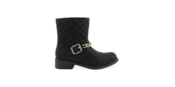 Dámske čierne prešívané členkové topánky Colorful