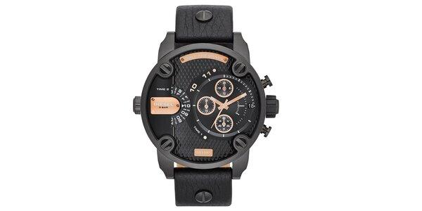 Pánske čierne oceľové hodinky Diesel s koženým remienkom