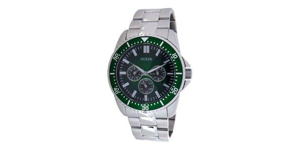 Pánske ocelové hodinky Guess s tmavo zeleným ciferníkom