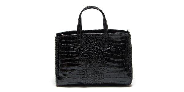 Dámska čierna kabelka so vzorom krokodílej kože Renata Corsi