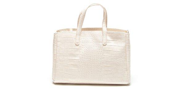 Dámska béžová kabelka so vzorom krokodílej kože Renata Corsi