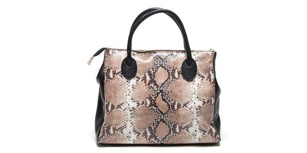 Dámska čierna kabelka s hadím vzorom Renata Corsi