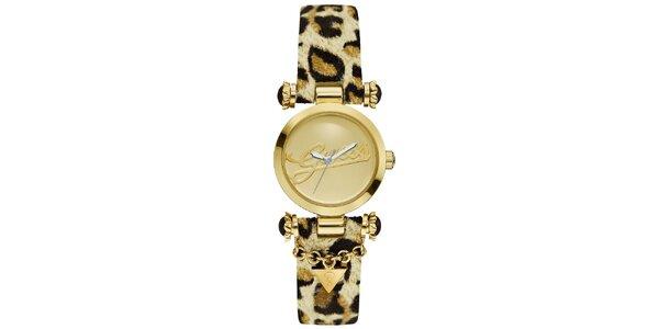 Dámske zlaté hodinky Guess s leopardím remienkom