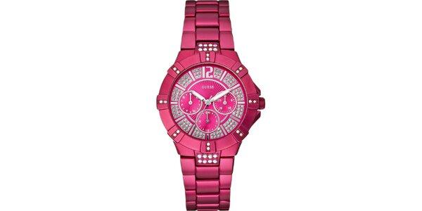Dámske tmavo ružové hodinky Guess s chronografom