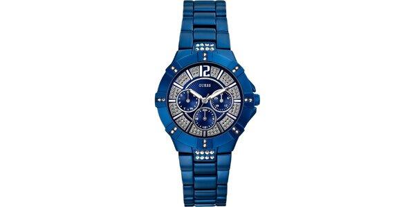 Dámske tmavo modré hodinky Guess s chronografom