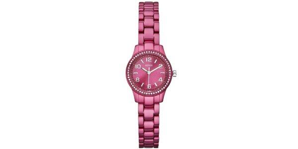 Dámske tmavo ružové ocelové hodinky Guess
