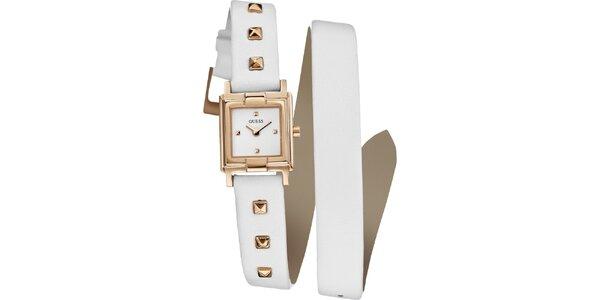 Dámske zlaté hodinky Guess s bielym remienkom