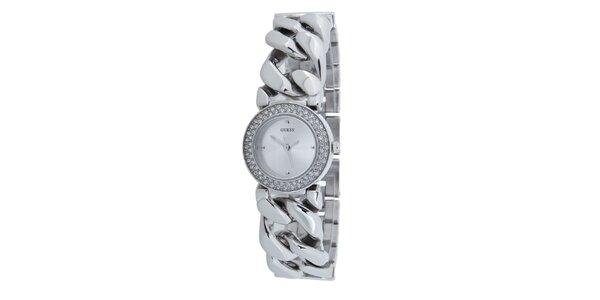 Dámske strieborné hodinky Guess s vykládaným ciferníkom