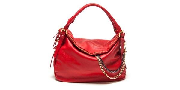 Dámska červená kabelka s retiazkou Renata Corsi