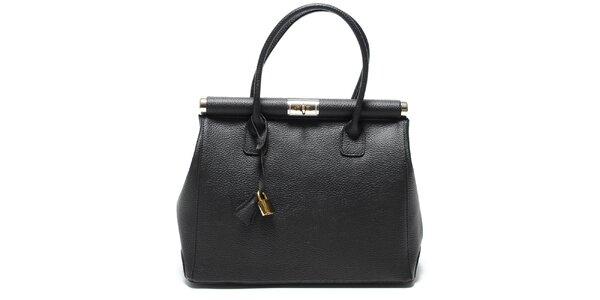 Trendy čierna kožená kabelka Renata Corsi