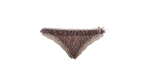 Dámske hnedé tangá s leopardím vzorom a čipkou DKNY