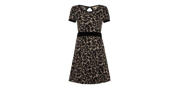 Dámske tmavé šaty s čiernymi kvetinami Yumi